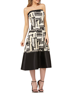 9e921ee8934 Kay Unger New York Strapless Colorblock Mikado Dress in Stretch Jacquard