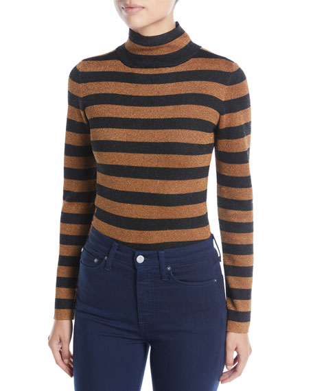 Roberta Metallic Long-Sleeve Turtleneck Pullover