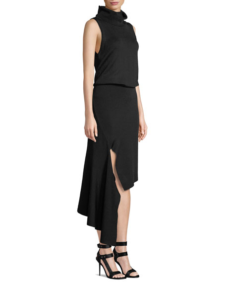 Hollis Mock-Neck Cascade Dress