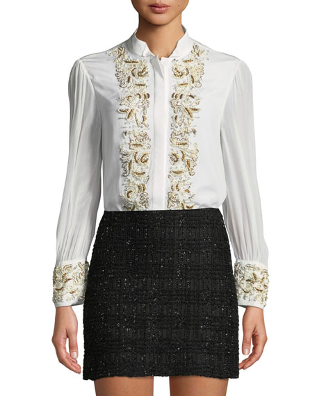 Zita Pearlescent-Embroidered Button-Front Blouse