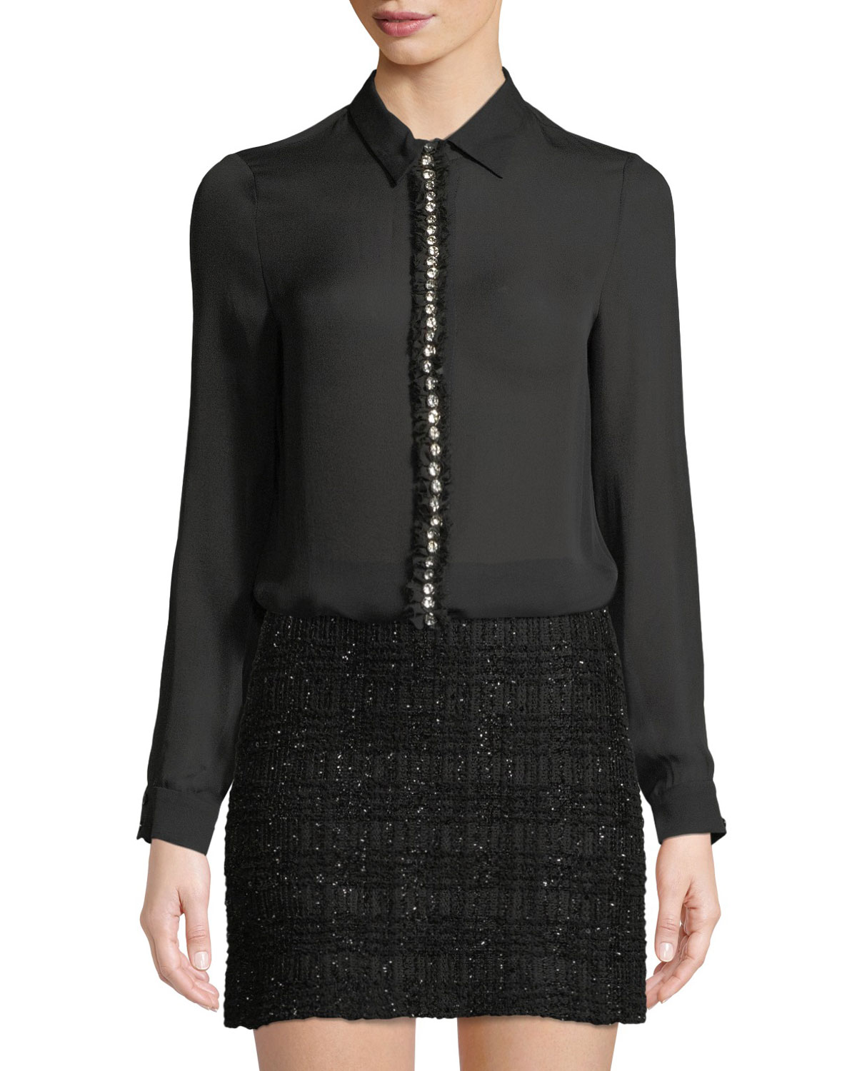 dbe2e7325f07a Alice + Olivia Willa Long-Sleeve Silk Top with Embellished Placket ...