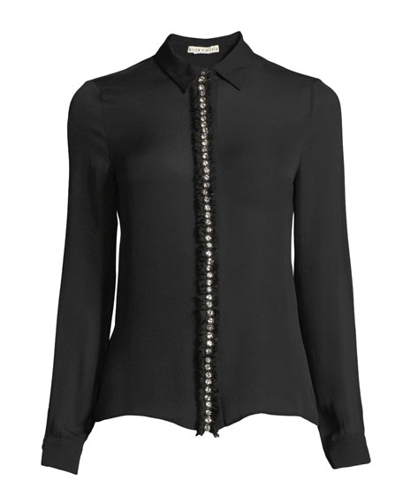 Willa Long-Sleeve Silk Top with Embellished Placket