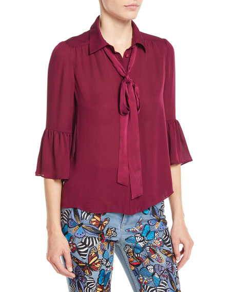 Maxima Ruffle-Sleeve Button-Front Silk Blouse