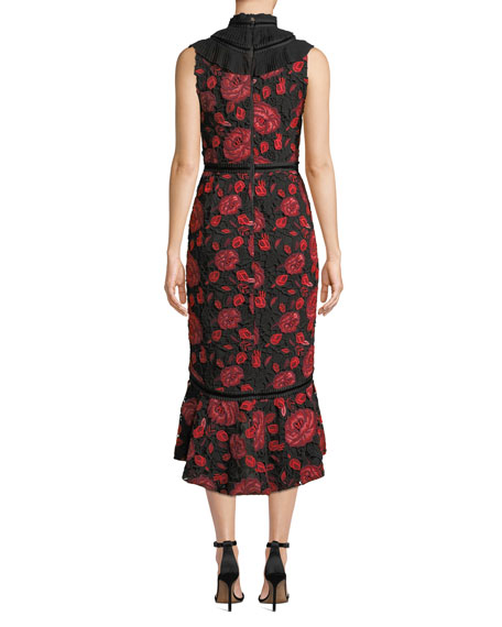 Evelina High-Neck Sleeveless Floral-Lace Cocktail Dress w/ Ruffle Bib