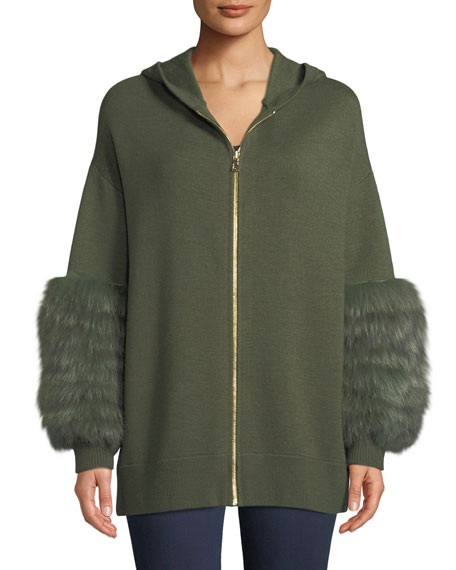 Joey Fur-Cuff Zip-Front Wool-Blend Hoodie Sweater