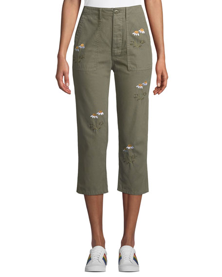 The Great EMBROIDERED STRAIGHT-LEG CROPPED ARMY PANTS