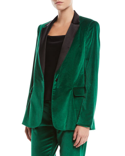 Macey One-Button Fitted Velvet Tuxedo Blazer