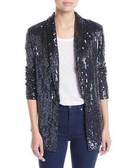 Jace Shawl-Collar Oversized Sequin Tux Blazer in Black