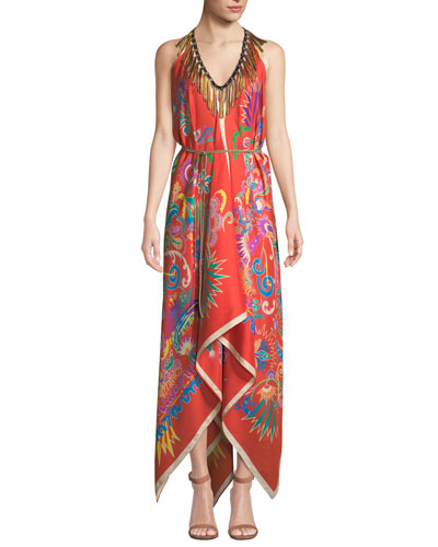 Printed Handkerchief Coverup Dress with Fringe