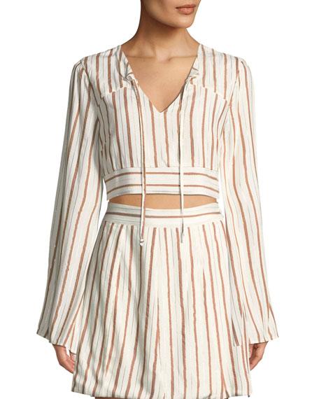 TULAROSA Trisha Striped Long-Sleeve Crop Top in Orange/White