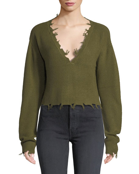 LOVERS & FRIENDS Prospect Frayed Long-Sleeve Cropped Sweater in Green