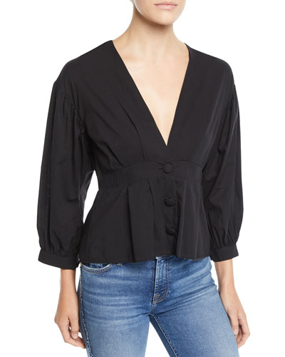 Teegan Cropped Button-Front Blouse