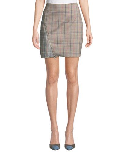 Brian Check Zipper Short Skirt