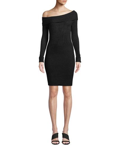 Eden Off-Shoulder Ribbed Sweater Dress