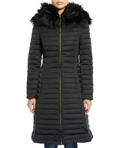 Refined Puffer Coat w/ Faux Fur Hood