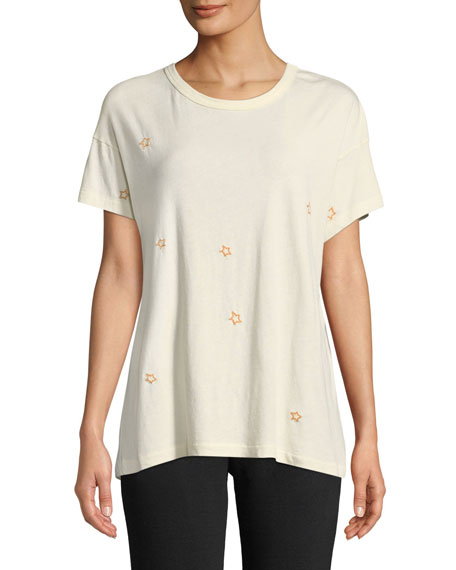 The Great The Boxy Star Embroidered Crewneck Tee