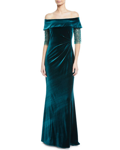 Bead-Sleeve Off-the-Shoulder Velvet Gown