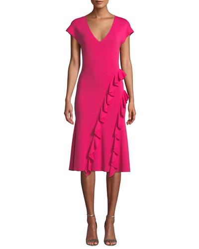 Shalise Asymmetric Ruffle Knit Dress