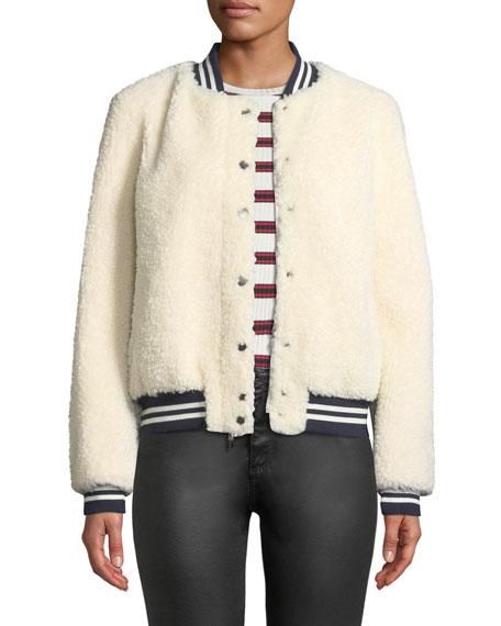 BELLE FARE Lamb Fur & Contrast Baseball Jacket in Cream