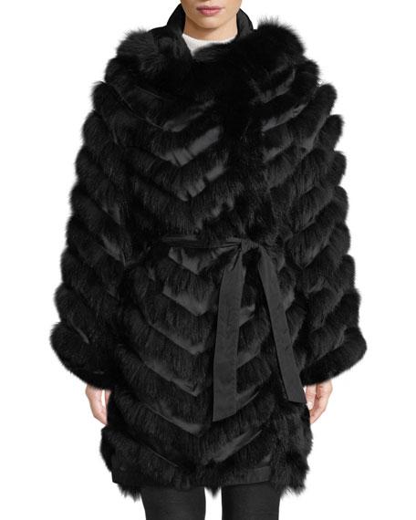 BELLE FARE Reversible Silk & Fox Fur Chevron Jacket in Black
