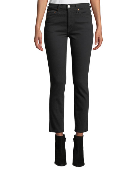 High-Rise Stretch Double-Needle Cropped Jeans in Black
