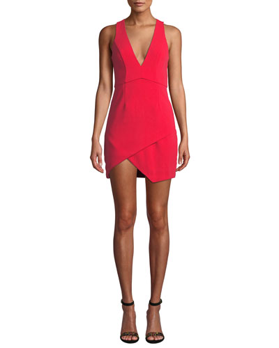 V-Neck Asymmetric Mini Dress
