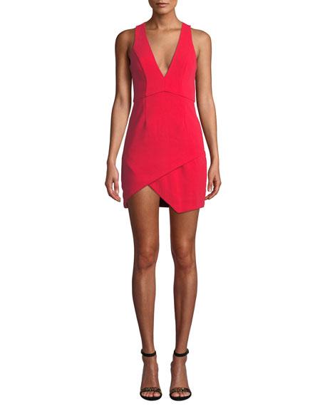 NBD V-Neck Asymmetric Mini Dress in Red
