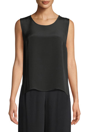 Caroline Rose Silk Crepe Mid Tank Top