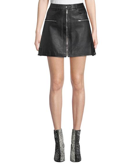 7 for all mankind Leather Biker Mini Skirt