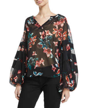 6574e5216ec2 7 for all mankind Paneled Floral Blouson-Sleeve Top