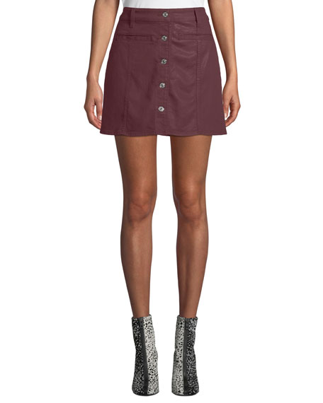 7 for all mankind Button-Front Coated Twill Mini