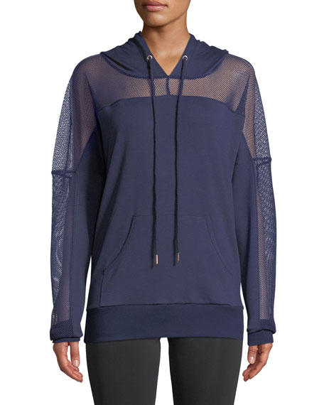 ONZIE Long-Sleeve Mesh Hoodie in Dark Blue