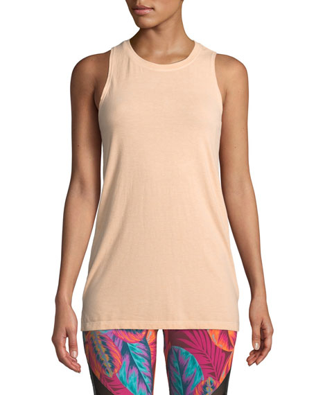 ONZIE Braided-Back Crewneck Jersey Tank in Peach