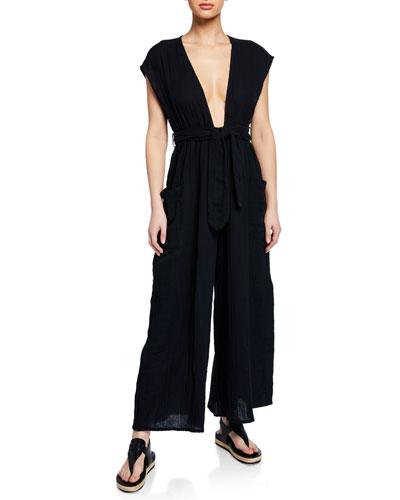 Whitney Plunging Cap-Sleeve Wide-Leg Cotton Gauze Jumpsuit