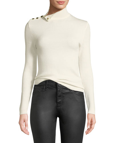 Rock Shoulder-Snap Turtleneck Sweater