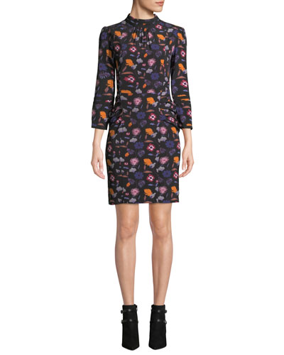 Maha Floral High-Neck 3/4-Sleeve Short Dress