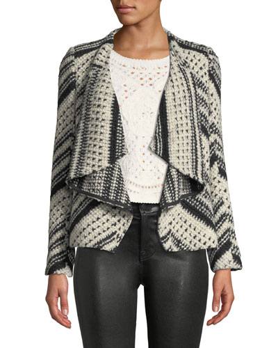 Ilda Stripe Knit Open-Front Blazer Jacket