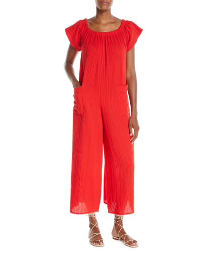 Blanche Wide-Leg Organic-Cotton Jumpsuit Coverup