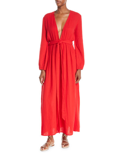 Luna Plunging Long-Sleeve Cotton Gauze Maxi Dress