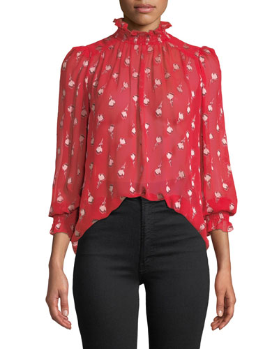 Malawi High-Neck Floral Long-Sleeve Top