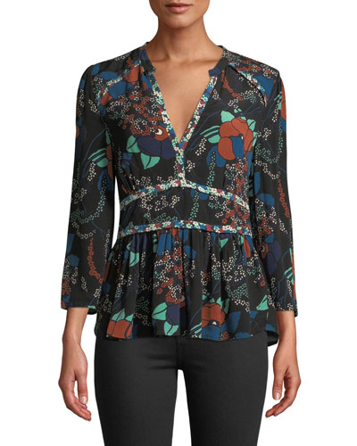 Alix Floral 3/4-Sleeve V-Neck Top