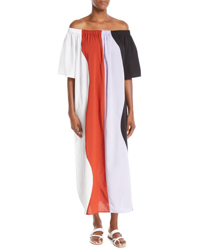 Sala Off-the-Shoulder Wavy-Stripe Swim Coverup Maxi Dress