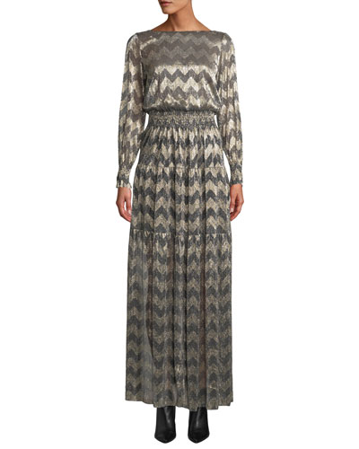 Boat-Neck Chevron Stripe Metallic Maxi Dress