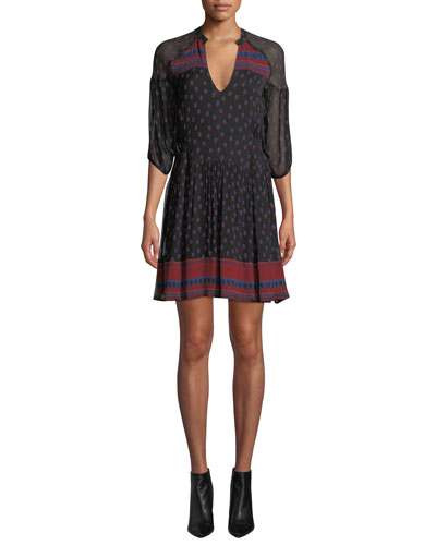 Bailey Printed 3/4-Sleeve Mini Dress