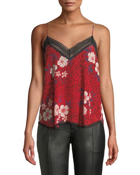 Christy Floral Lace-Trim Silk Cami