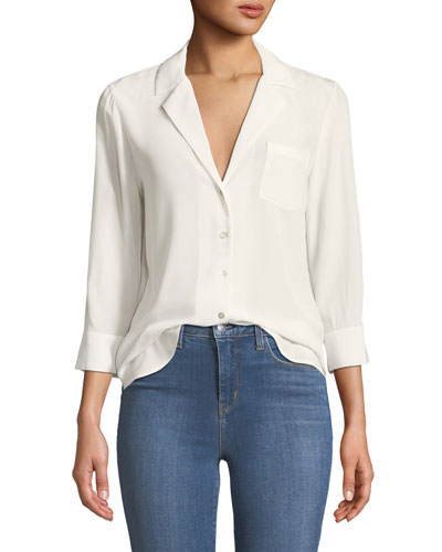Amlina 3/4-Sleeve Silk Button-Front Blouse
