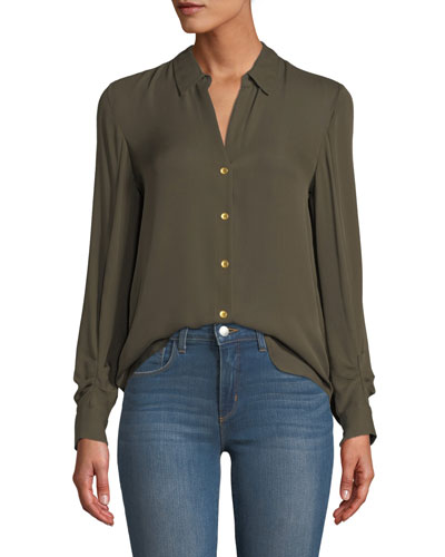 Fiona Shirred-Sleeve Silk Button-Down Blouse