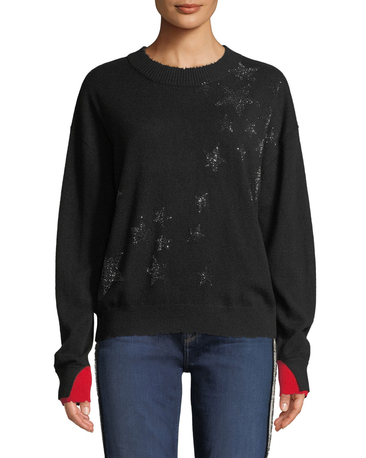 ff8df0cfb Zadig   Voltaire Gaby Cashmere Embellished Star Pullover Sweater ...