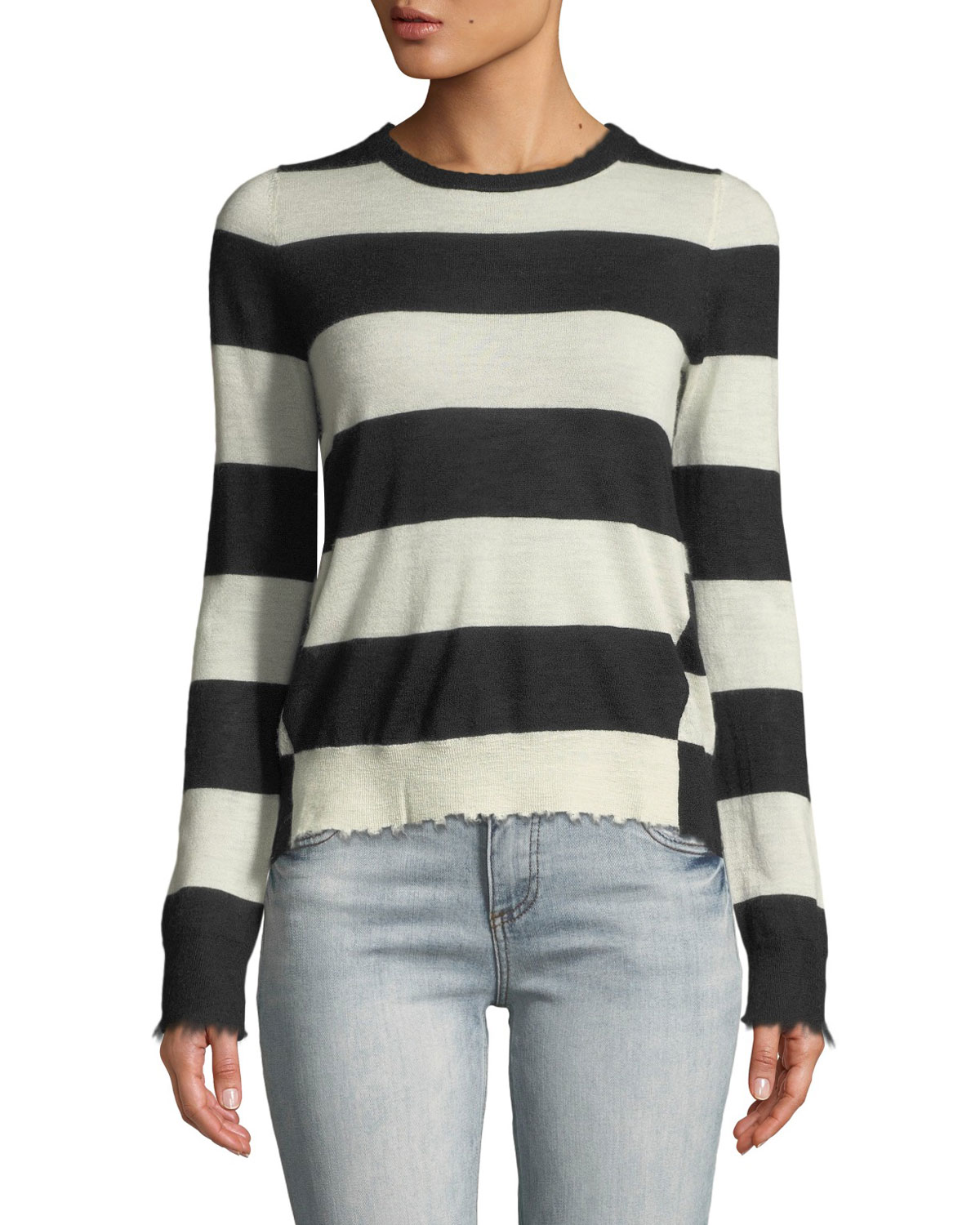 77e775ba1 Zadig   Voltaire Source Striped Cashmere Frayed Sweater