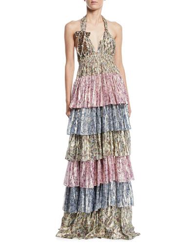 Clarissa Tiered Metallic Halter Gown